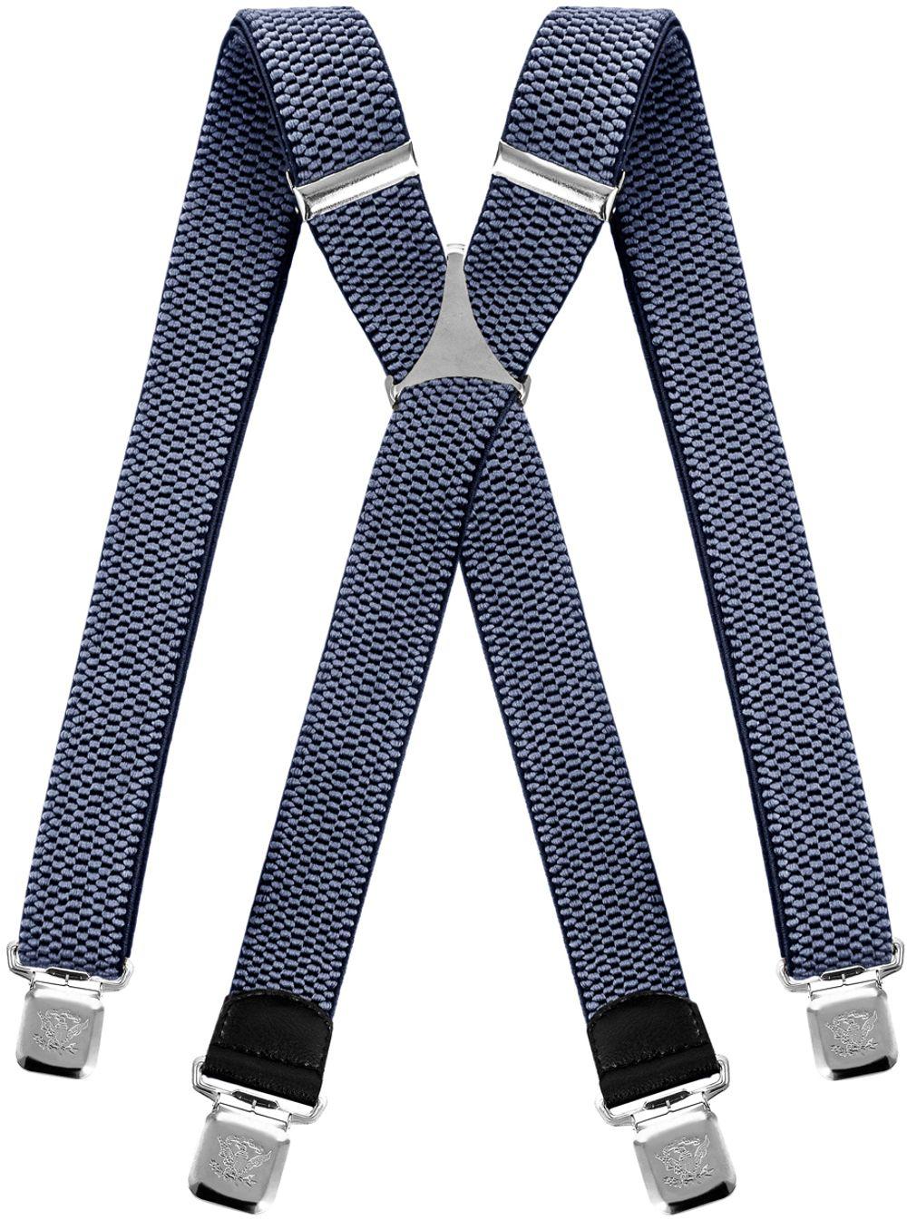 Grau 2 Hosenträger für Herren breit extra starken 4 cm mit 3er Clips Y-Form